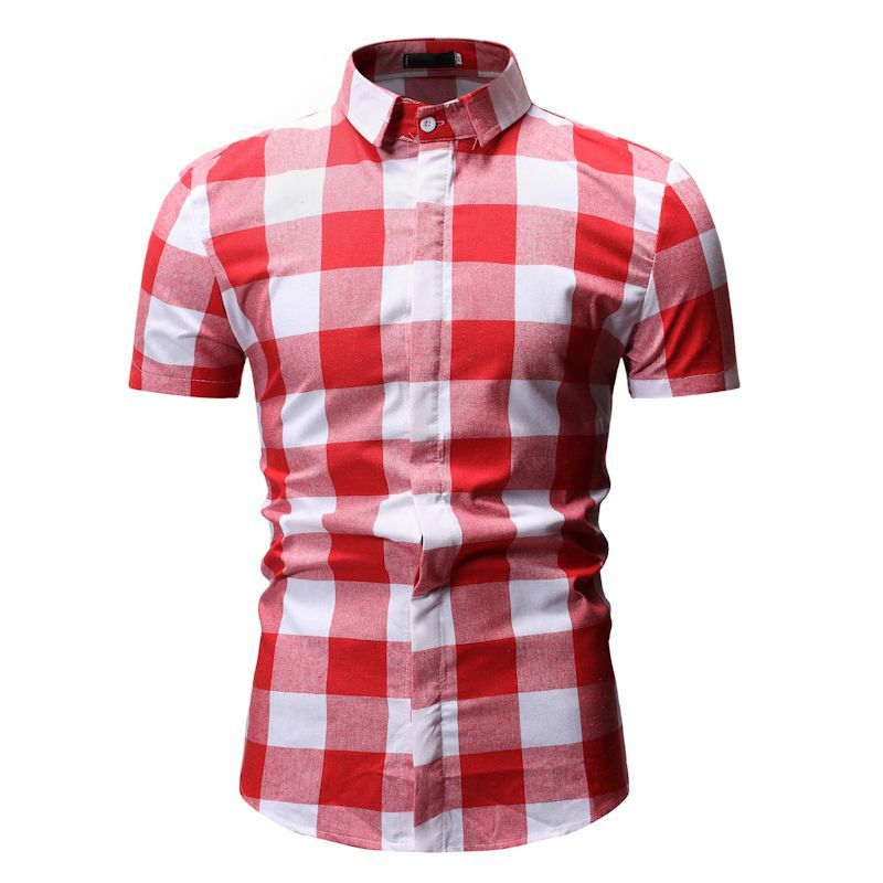 On Down Blouse White Plaid Red