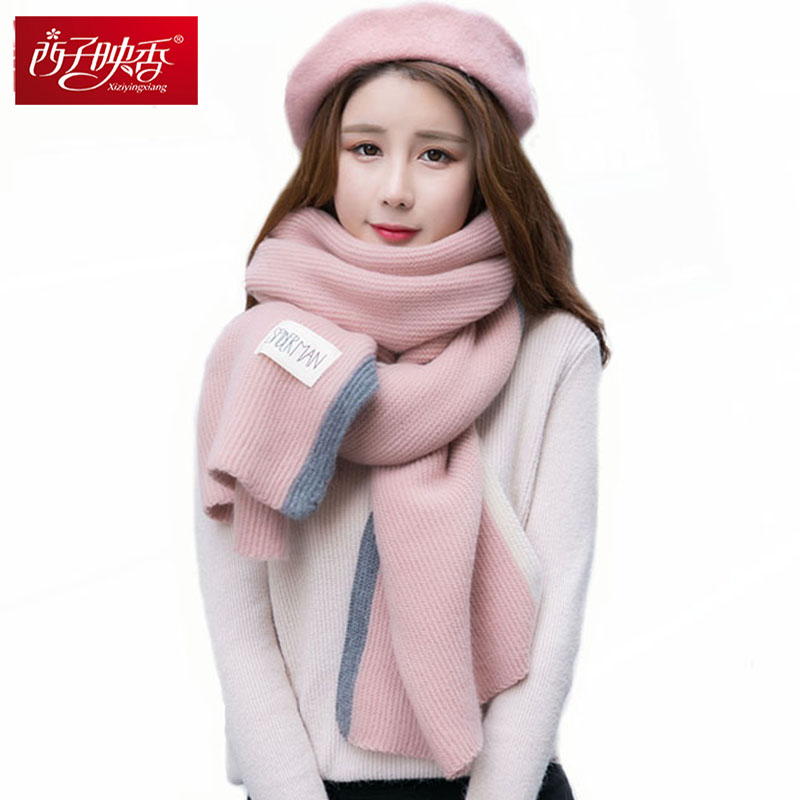 Women Scarf Stole Women New Year Winter Wool Knitted Scraves Double Candy Color Handmade Knitted Scarf Winter Warm Long Poncho