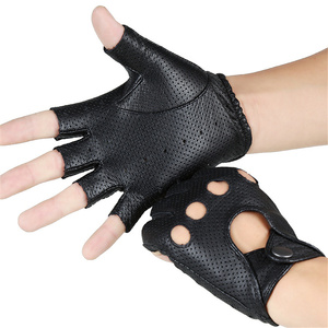 Image 2 - Breathable Hollow Men And Women Genuine Leather Gloves Wrist Half Finger Gloves Solid Neutral Adult Fingerless Y 10 5