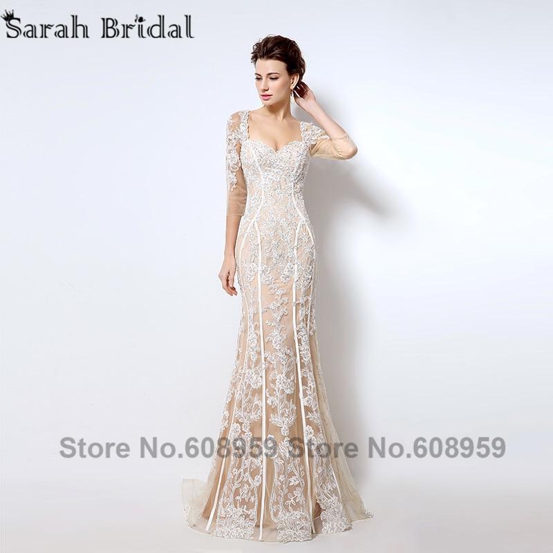 Nude Cut Srebrna večernja haljina Nova moda Crystal čipka tri - Haljina za posebne prigode - Foto 2