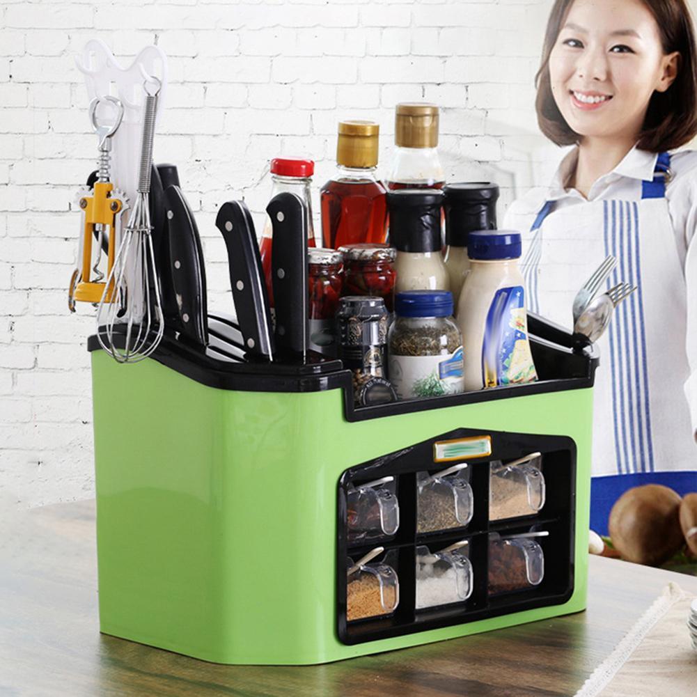 Boîte de rangement pour bouteille d'assaisonnement domestique accessoires de cuisine étui de support organisateur gadgets de cuisine