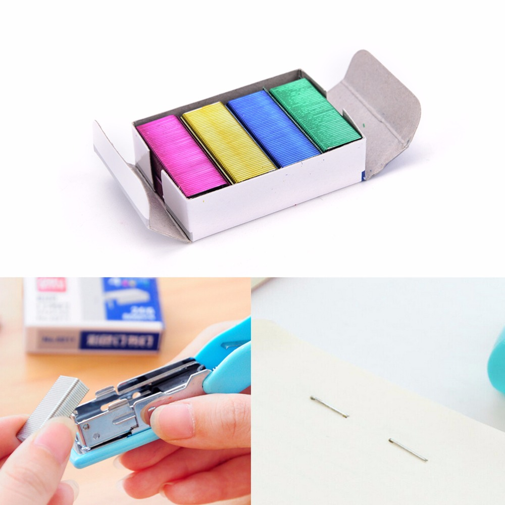 HOT 1Pack 10mm Creative Colorful Stainless Steel Staples Office Binding Supplies Wholesale Low Price( Pack Of 800 )