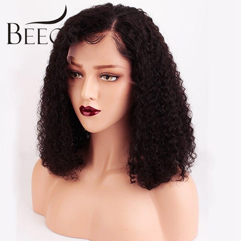 Beeos бразильский вьющиеся короткие 13x6 Синтетические волосы на кружеве человеческих волос парики для Для женщин натуральный черный Pre сорвал ...