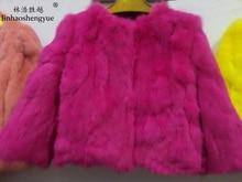 Linhaoshengyue new2016 rabbit fur coat short design o neck fur three quarter sleeve
