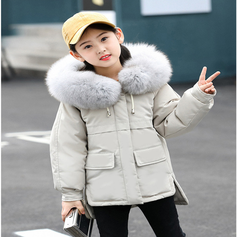 Children's Winter Girls Down Jacket White Duck Down Short Thick 2018 New Fashion Fur Collar Down Jacket For Girl Size 110-150 new women s fashion authentic korean slim fur collar down jacket female long thick warm white duck down jacket for snow h1013