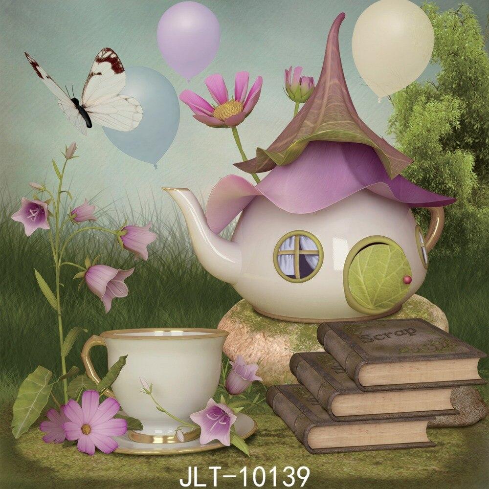 SJOLOON 8X8ft pictuers-arka plan çay seti ve kitap Fotoğraf arka plan stüdyo Sahne için bebek ve kız fotoğrafçılık arka planında viny