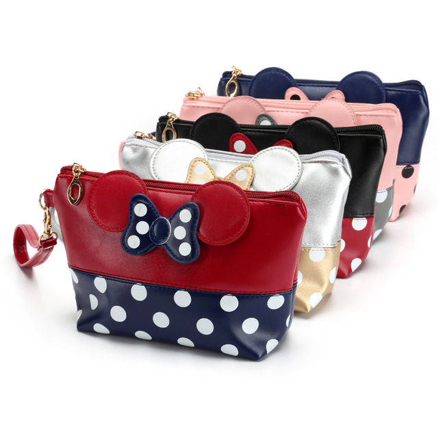 Women Cute Cartoon Cosmetic Bag with Bow