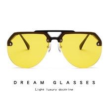 Fashion Semi Rimless Pilot Red Sunglasses