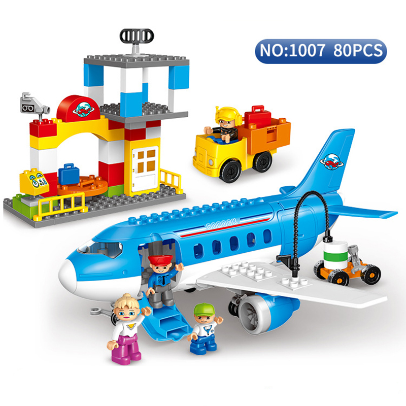 Large Airport Airbus Plane Figures Building Blocks City Set Compatible With duploe Enlighten DIY Bricks Toys For Kids GIRLS BOYS patrulla canina with shield brinquedos 6pcs set 6cm patrulha canina patrol puppy dog pvc action figures juguetes kids hot toys