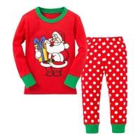 Children's Foreign Trade Europe America Christmas Santa Suit Dot Home Furnishing Long Sleeved Girls Set Kids Leisure Wear Baby