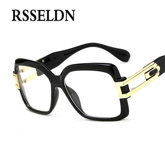 2270357c9 RSSELDN 2019 إطارات نظارات طبية الرجال واضح عدسة النظارات النساء عالية  الجودة أسود مربع الذكور النظارات