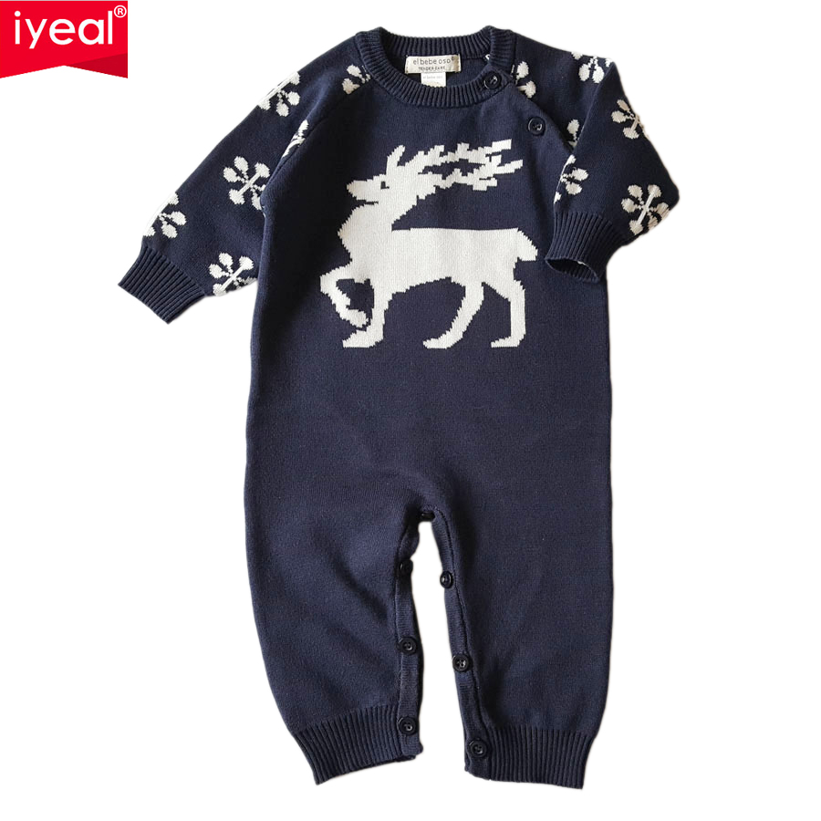 IYEAL New Spring Autumn Baby Rompers Cartoon Christmas Deer Cotton Sweater Infant Girl Boy Jumpers Kids Baby Outfits Clothes