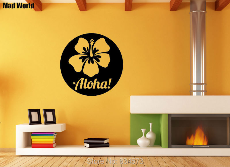 Mad World Floral Aloha Hawaii Silhouette Wall Art Stickers Decal Home DIY Decoration Removable