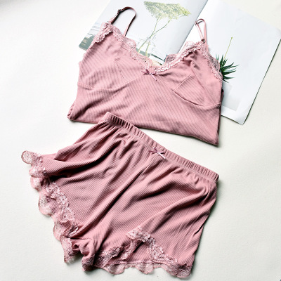 Two Piece Cotton Pajama Set Sexy Lace Top And Shorts Pyjamas Spaghetti Strap Sleepwear High Elastic Pijama Nightie Home Clothes 1