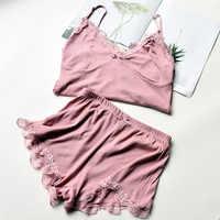 Conjunto de pijama de algodão de duas peças sexy rendas e shorts pijamas cinta de espaguete sleepwear alta elastic pijamas roupa de noite casa