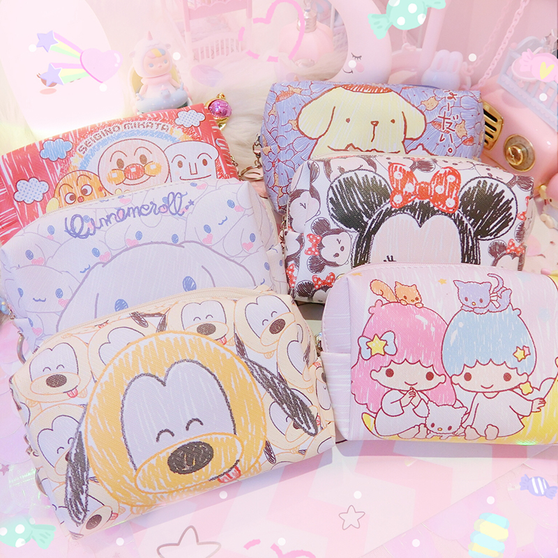 1pc Cartoon TSUM Minnie Little Twin Stars Cinnamoroll Dog Pu Leather Purses Cosmetic Bags Dolls Collection 16cm
