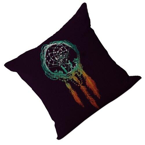 18 дюймов льна Ловец снов с decorativeative Пледы домашняя декоративная наволочка черный низ + цветной узор 4