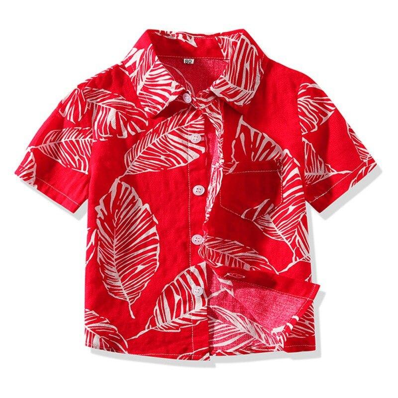 Summer Baby Boys Clothes Short Sleeve Floral Print Shirts Kids Tops Tees Shirts Casual Blouse