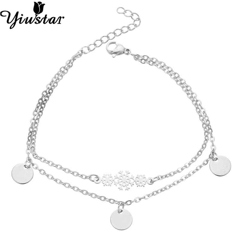 Yiustar Retro Christmas Snow Charm Bracelet Stainless Steel Link Chain Bracelets For Women Pulsera Dangle Lucky Round Bracelets