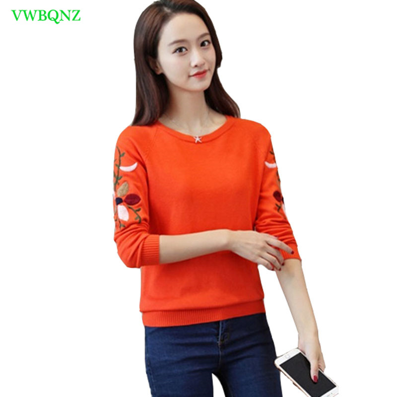Embroidered Knit Sweaters Womens clothing Autumn Winter Wild Knitting Shirt Women Fashion Spring Slim Long sleeve Knitted Top 78-in Pullovers from Women's Clothing on AliExpress - 11.11_Double 11_Singles' Day 1