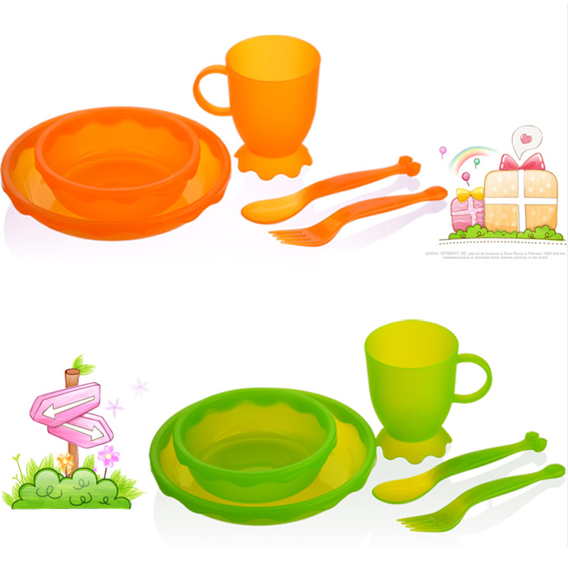 New Children Tableware BPA Free Plastic Baby Food Set Kids Dinnerware Plate Bowl Cup Fork Spoon Infant Dishes For Toddlers Baby (10)