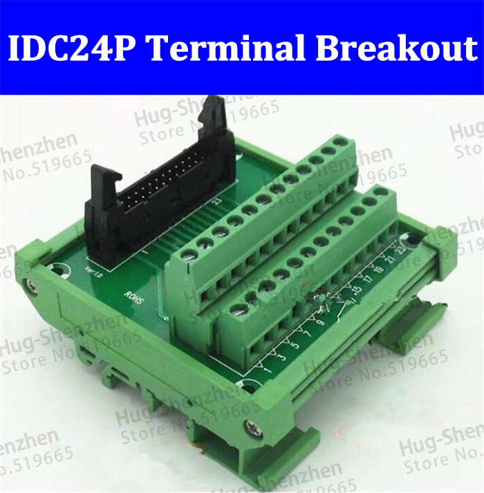 IDC24P IDC 24 Pin Male Connector to 24P Terminal Block Breakout Board Adapter PLC Relay Terminals DIN Rail Mounting--5pcs/lot hot factory direct wholesale idc40 male plug 40pin port header terminal breakout pcb board block 2 row screw