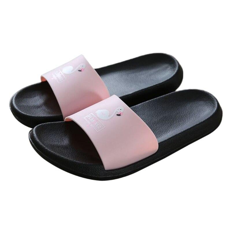 Fashion 2018 Women Slides Flamingo Cartoon Slippers Sandals Beach Shoes Flip Flops flamingo pattern round beach throw