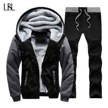 Russia Size Winter Tracksuits Men Set Thicken Fleece Hoodies + Pants Suit Warm Casual Men's Coats Hoodie Suits Fleece Jacket Men