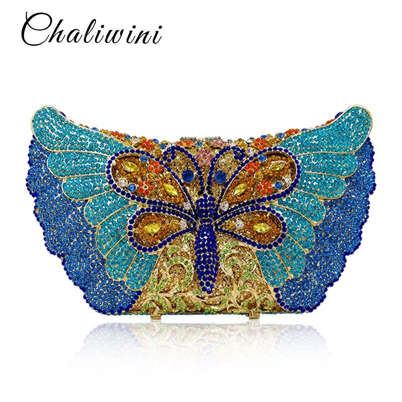 Bleu diamant cristal papillon sacs à main cadeau clair embrayage trousse de toilette pour les femmes paquet de soirée luxe portefeuille fête jour sacs