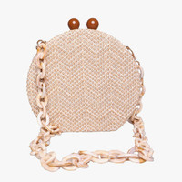 Round Weave Handbag Banquet Clutch Woman Crossbody Bags For Women Circular Strip Shoulder Bags Resin Strap Wood Handle 2019 New