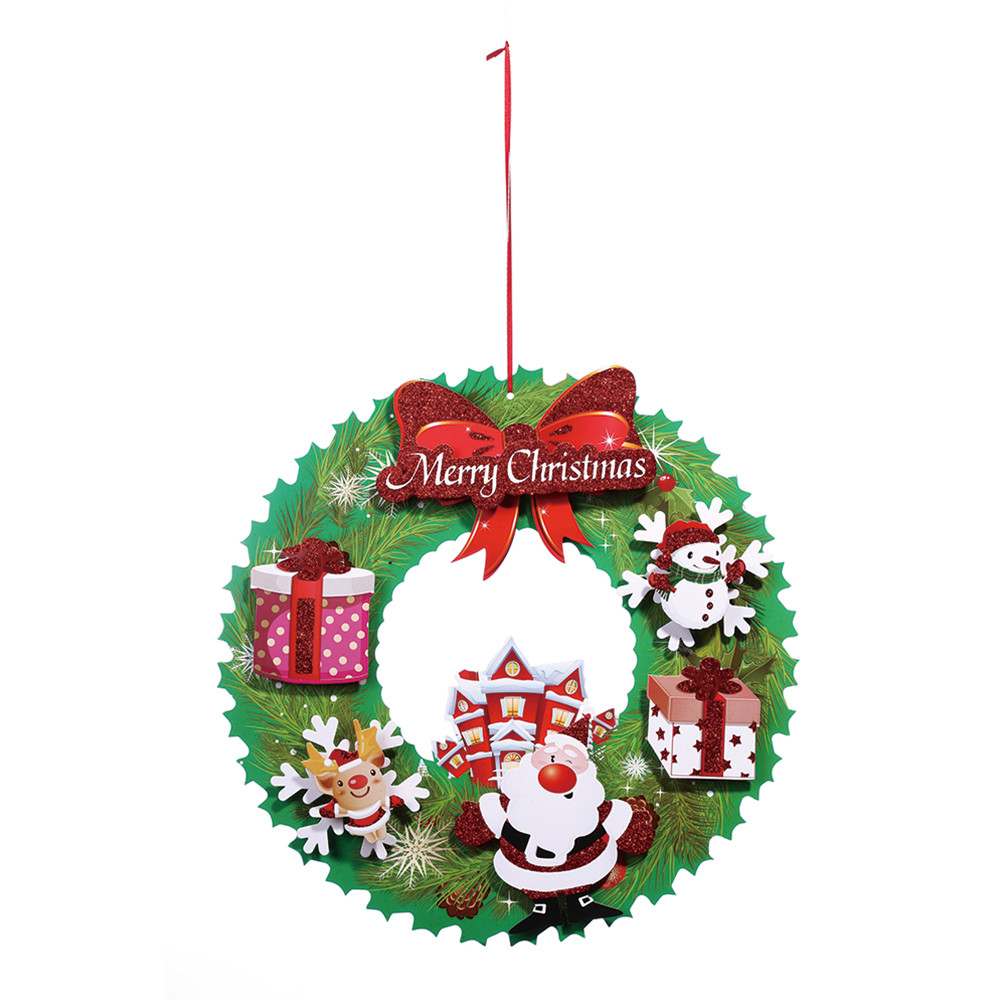 2018 For Home 40 Cm Christmas Holiday Paper Wreath Door Ornament Garland Decoration Tree Xmas Diy 18oct