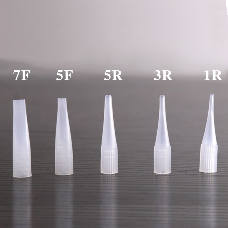 100pcs Disposable Tattoo Permanent Makeup Needle Tips Traditional Needle Caps 5 Size To Be Choose From