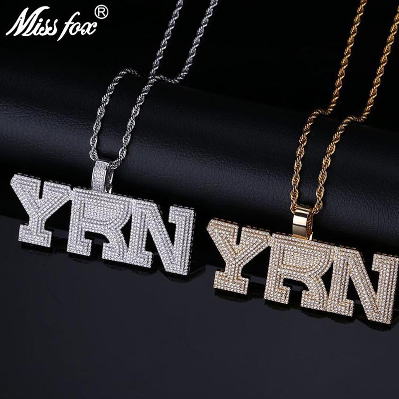 MISSFOX Hip Hop Migos Star Style YRN Letter Necklace Men 24K Gold Plated AAA Cubic Zirconia Mens Personalized Necklaces Pendants