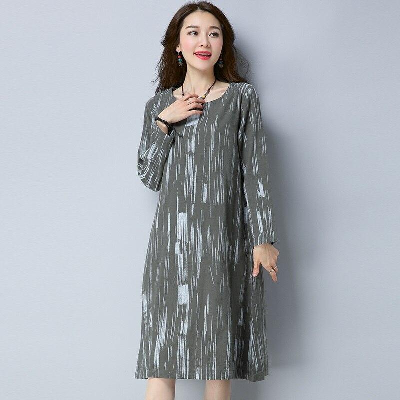 new fashion cotton linen vintage print plus size women casual loose long autumn spring dress vestidos femininos 2018 dresses