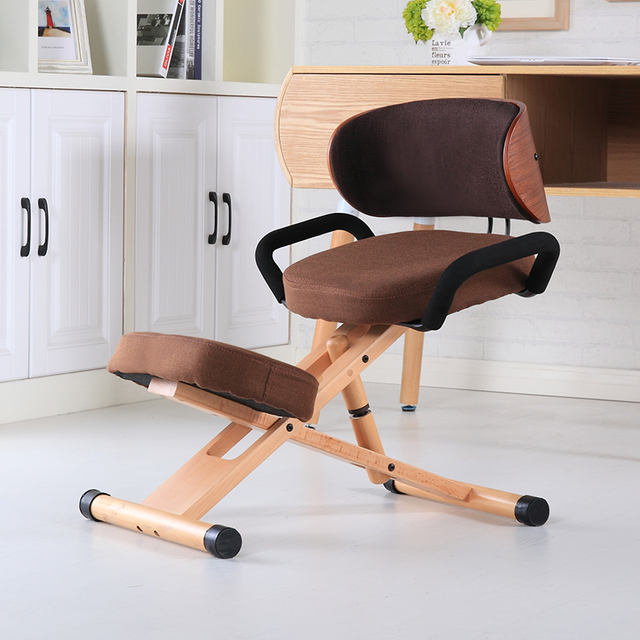 Modern Ergonomic Kneeling Chair With Back And Handle Office Furniture Height Adjule Wood