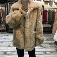 Зимняя куртка из натурального меха женская элегантная 2018 осень зима теплая Натуральная Овечья Меховая куртка женская повседневная верхняя