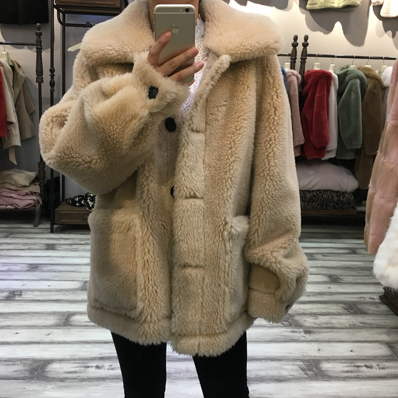 winter real fur jacket women elegant 2018 Autumn Winter Warm Natural Sheep Fur Jacket Female Overcoat Casual Lamb Fur Outerwear