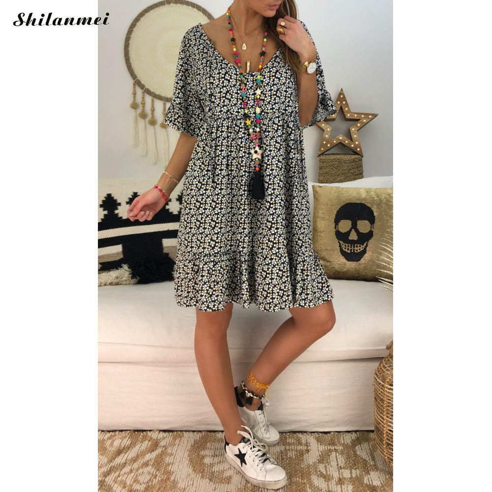 New Fashion Short Sleeve O Neck Loose Short Dress Plus Size Boho Dresses Femme Vestidos 4XL 5XL Printed Woman Summer Beach