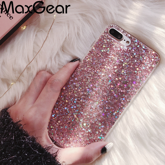 MaxGear Phone Case for iPhone 6 6S Case Silicon Bling Glitter Crystal Sequins Soft TPU Cover Fundas for iPhone 5 5S 7 8 Plus X 1