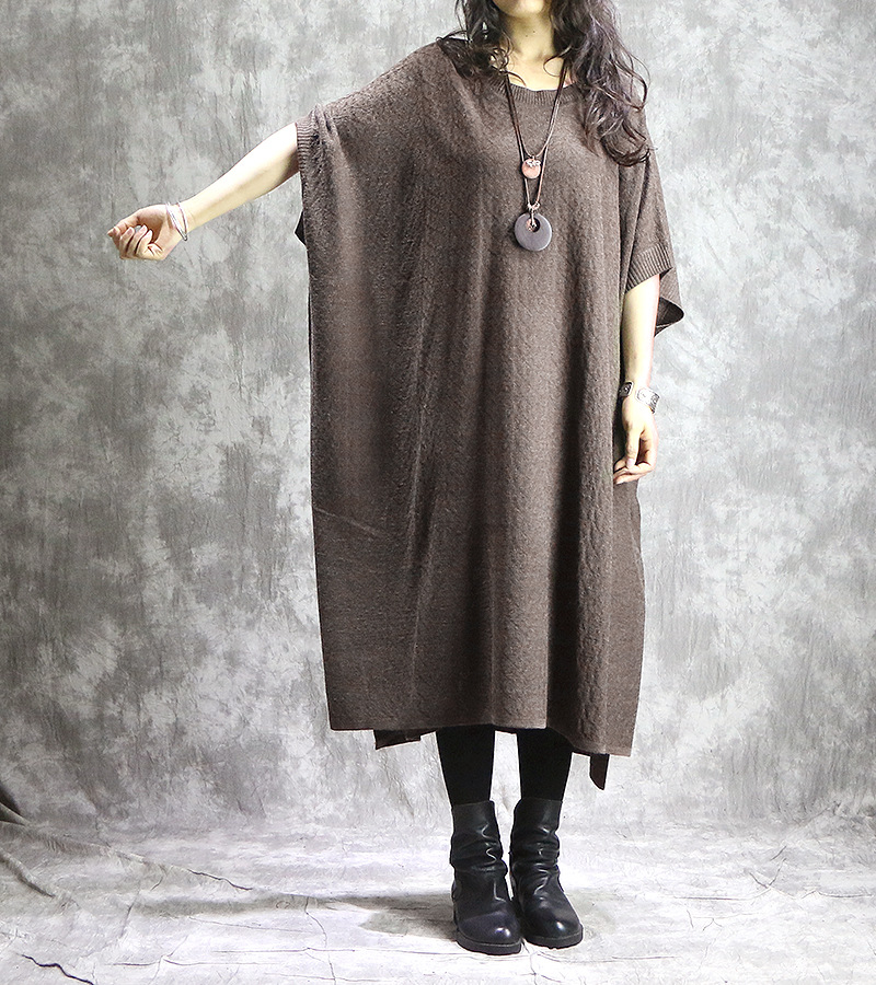 Women Bat Sleeve Irregular Plus Size Dress Ladies Knitwear Robe Dress Big Size Dresses 2018 Autumn