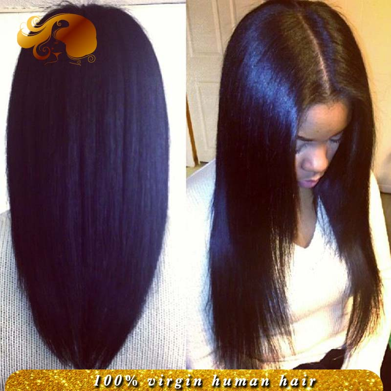 150% density Thick Yaki Straight Human Hair Glueless Full Lace Wigs With Natural Hairline Brazilian Virgin Hair Lace Front Wigs