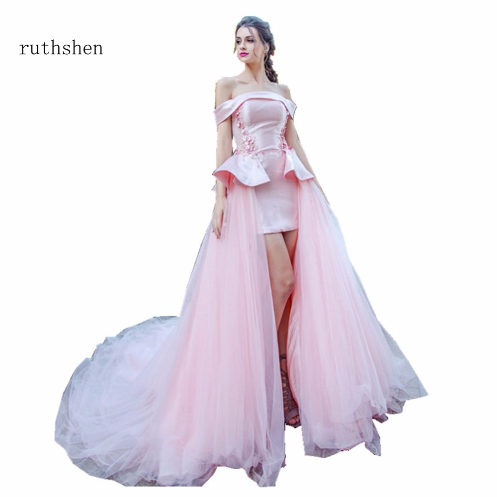 ruthshen 2018 Sexy   Evening     Dresses   Sleeveless Cheap Off The Shoulder Tailored High Low Formal Prom Party Gowns 2018