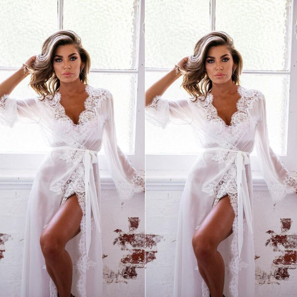 Robe <font><b>Sexy</b></font> Women Night Dress Lingerie Bathrobe With Belt <font><b>Babydoll</b></font> Sleepwear Perspective Lace Coat Nightwear+G-string <font><b>pijama</b></font> mujer image