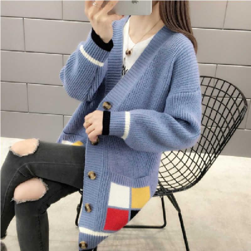 2019 весна осень женский кардиган вязаный свитер пальто женский длинный рукав вязаный свитер повседневные кардиганы с v-образным вырезом Свитера