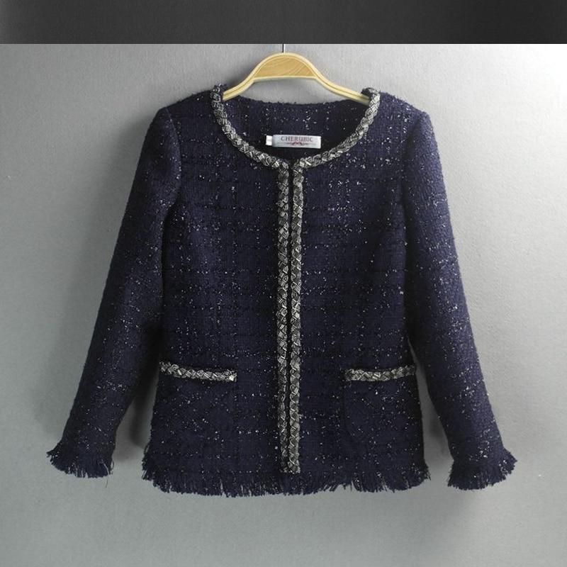 Veste tweed femme bleu marine