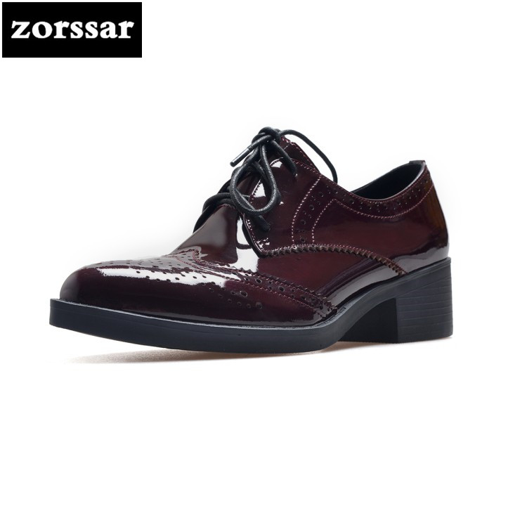 {Zorssar} 2018 fashion British style Patent leather womens shoes heels Lace-up Pointed toe High heels pumps ladies Oxford shoes brand new horsehair oxford shoes for women fashion lace up high top flat british style ladies shoes spring office