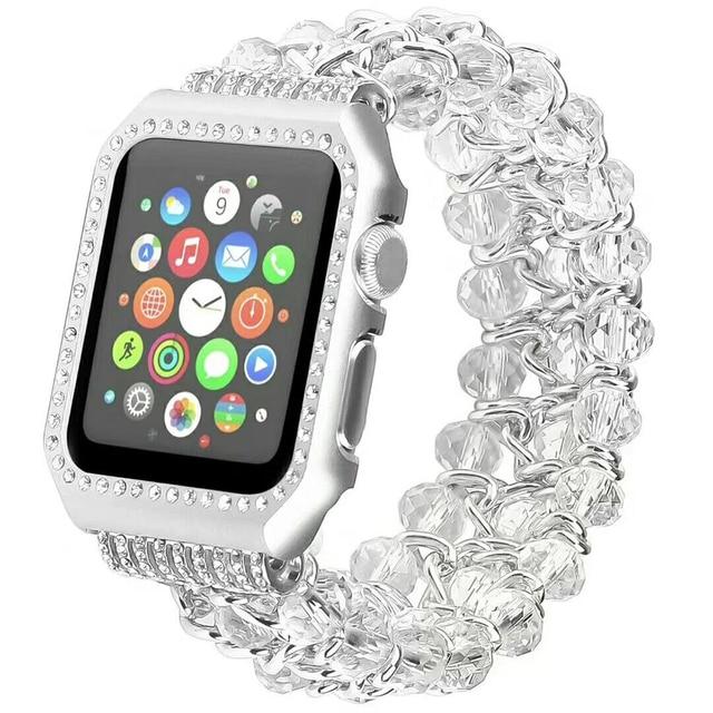 2e2ab837a FOLOME Fashion Handmade Elastic Stretch Crystal Beaded Bracelet Metal Chain  Women Girls Wristband for Apple Watch