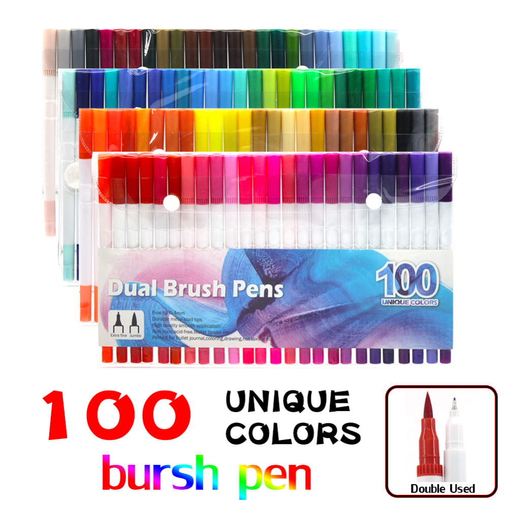 Dual Tip Marker Pens 100 Colors,Watercolor Dual Brush Pen with Fineliner Tip 0.4 and Highlighters Brush Tip(1mm-2mm) 0 4mm 24 colors art marker pen fine draw point 88 fineliner pens painting pencils children pens no tox drawing marker sketch