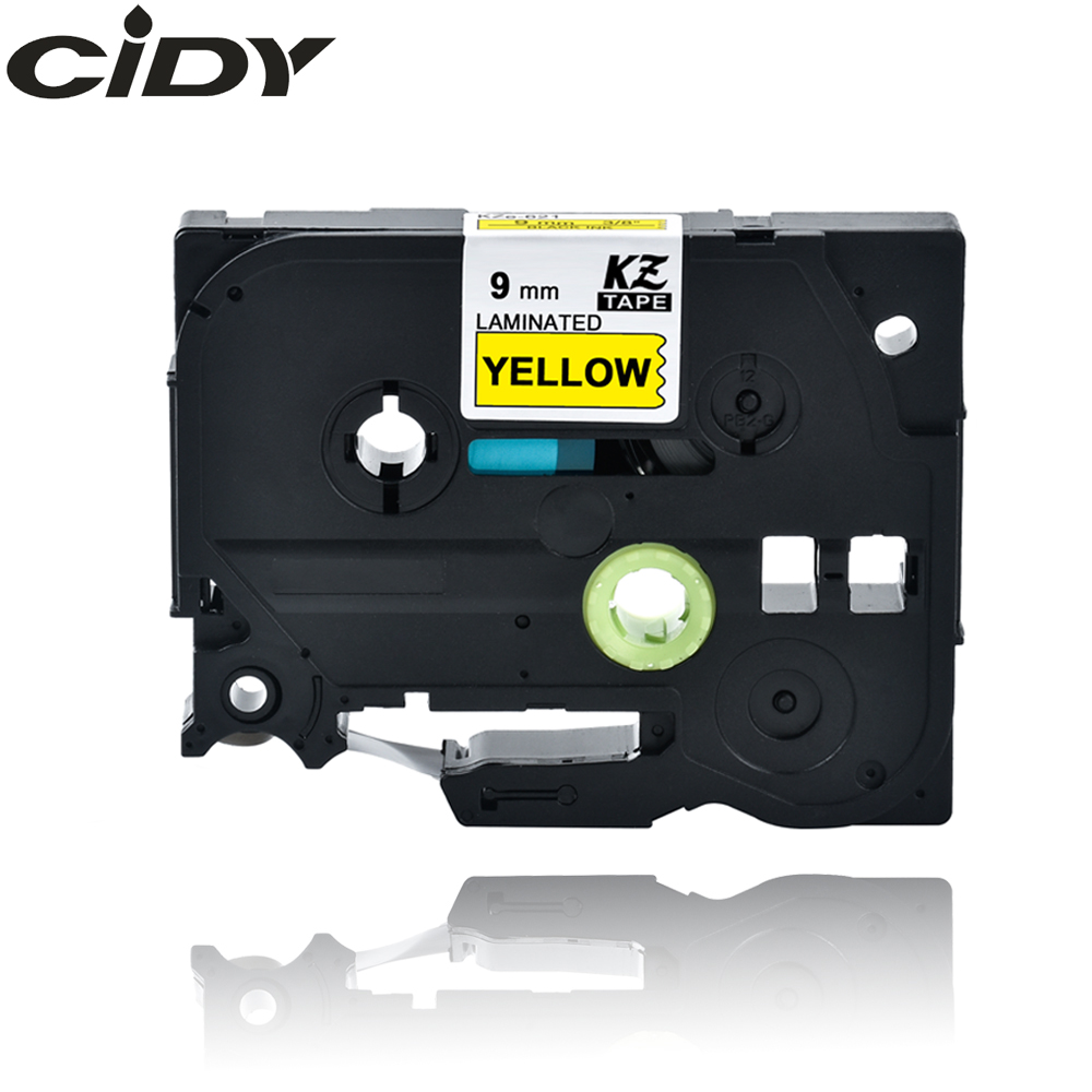 CIDY TZ621 TZ 621 TZe621 TZe 621 Laminated Strong Adhesive  Tze-621 Labels Tape P Touch Black On Yellow Compatible For Brother