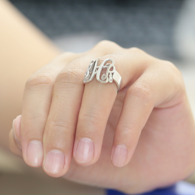 0469be4f4 Monogram Customized Ring 3 Initals Name Party Ring Men Personalized Fashion  Silver Ring Wholesale
